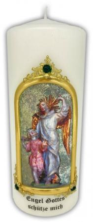 geweihte Kerze mit hl. Schutzengel aus Maria Vesperbild, Größe 8 x 20 cm