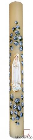 Votivkerze 10x100 cm - Muttergottes von Fatima, Rosen