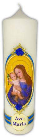 Votivkerze 8x30 cm - Mutter Gottes mit Jesuskind - Ave Maria