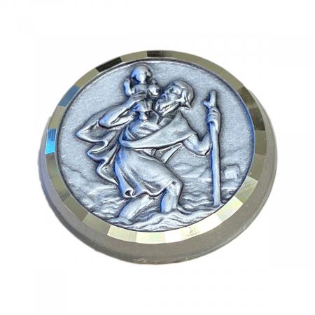 geweihte hl. Christophorus Autoplakette mit Magnet, 3 cm