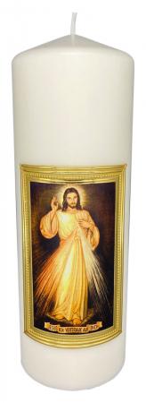 Geweihte Kerze  - Jesus ich vertraue auf Dich, Größe 10x29 cm