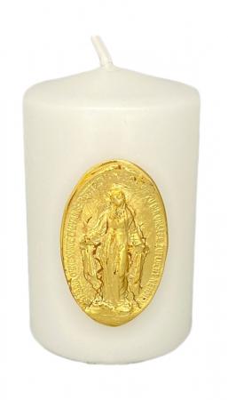 Geweihte Marienkerze, Größe 5x8 cm - Motiv der wundertätigen Medaille