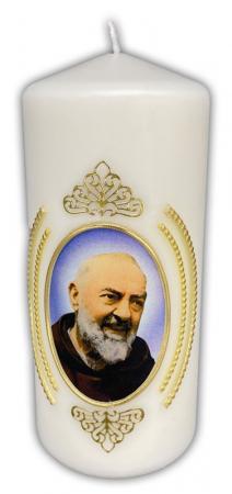 geweihte Hl. Pater Pio Kerze, Größe 6x15 cm