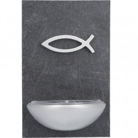 Weihwasserkessel Schiefer/Holz, silberner Fisch