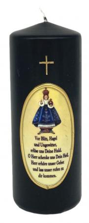 schwarze Wetterkerze 6x15 cm, Prager Jesulein, geweiht